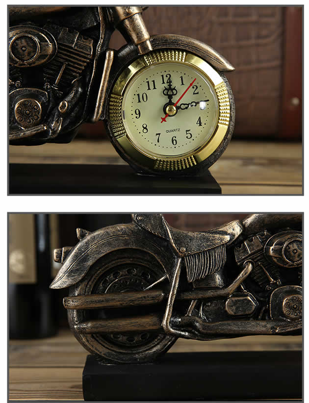 Creative motorcycle shape resin wine bottle wine holder with clock