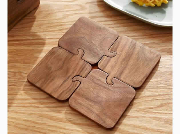 Creative Wooden Elephant Cup Coaster Wood Kitchen Potholder Phone Holder