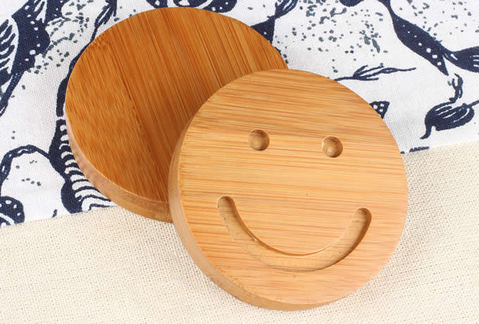 Wood Smiley Face Coaster Set of 5