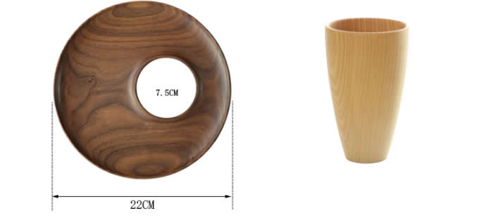 Black Walnut Wood Bread Serving tray with Drink Cup