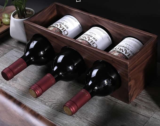Black Walnut Wooden 3-bottle Wine Rack