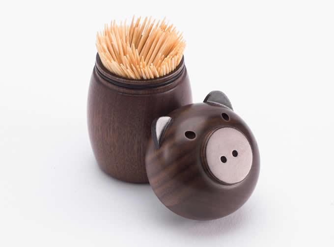 Black Walnut Wooden Pig Toothpick Holder