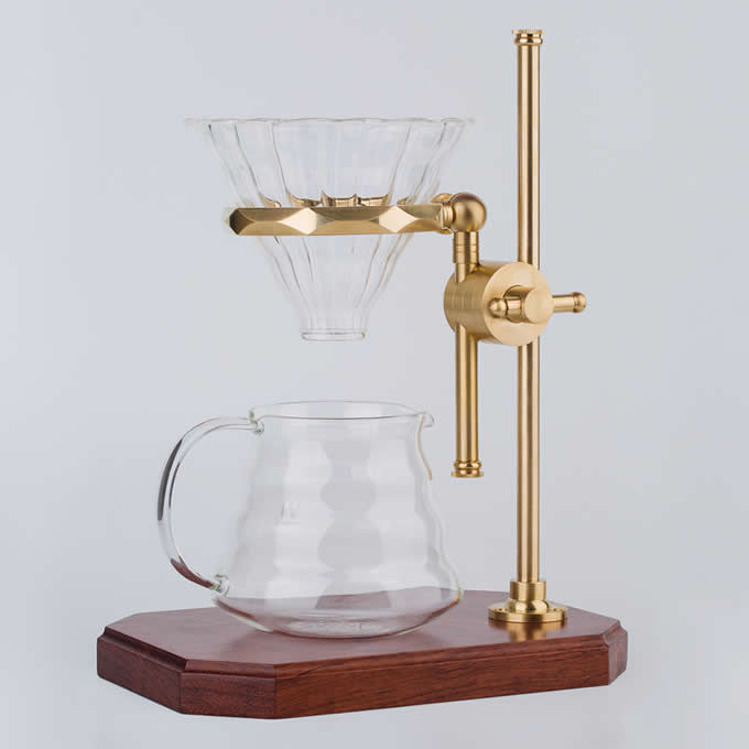 Black Walnut Base Brass Pour Over Drip Coffee Maker Dripper Stand