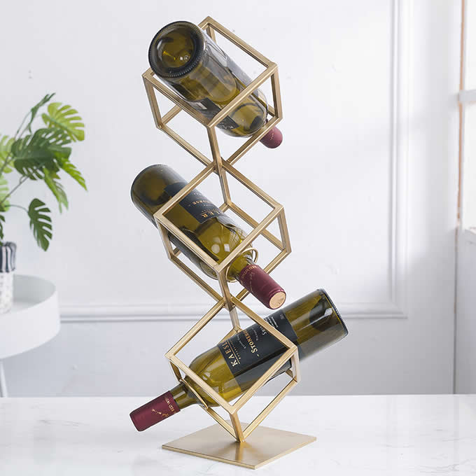 Metal Geometric Wine Bottle Wine Rack