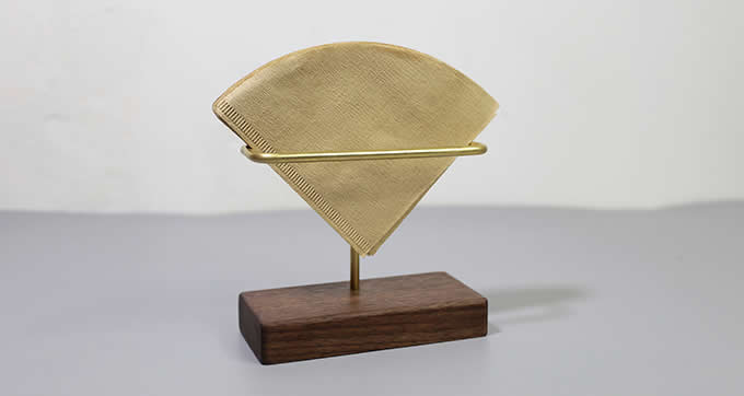 Modern Brass Coffee Filter Holder With Wooden Base