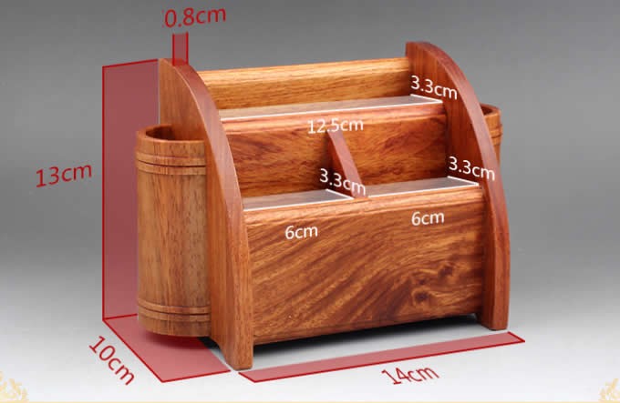 Superbe Multifunction Wood Pen Pencil Remote Control Plant Holder Desk Storage Box  Container