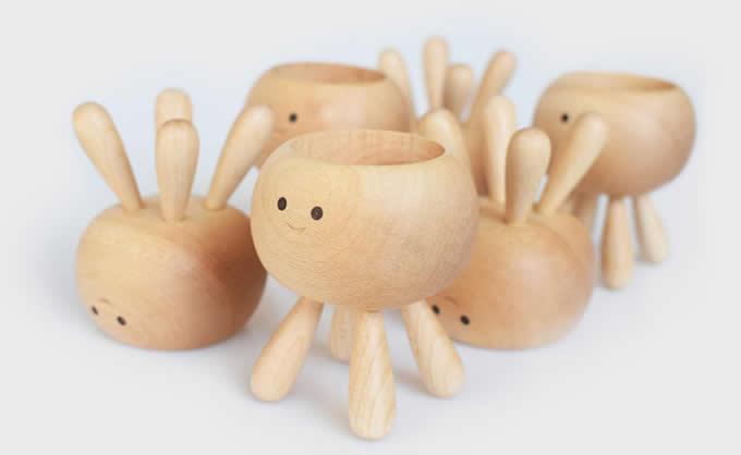 Tea Light Wooden Octopus Candle Holder(single)