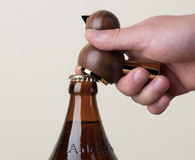 Wooden Bird Bottle Opener