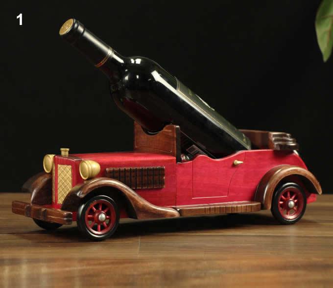 Wooden Classic Car Wine Bottle Holder Feelgift