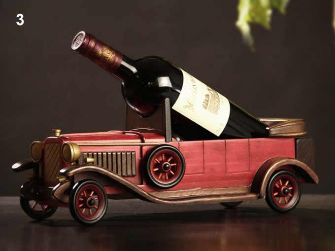 wooden classic car wine bottle holder