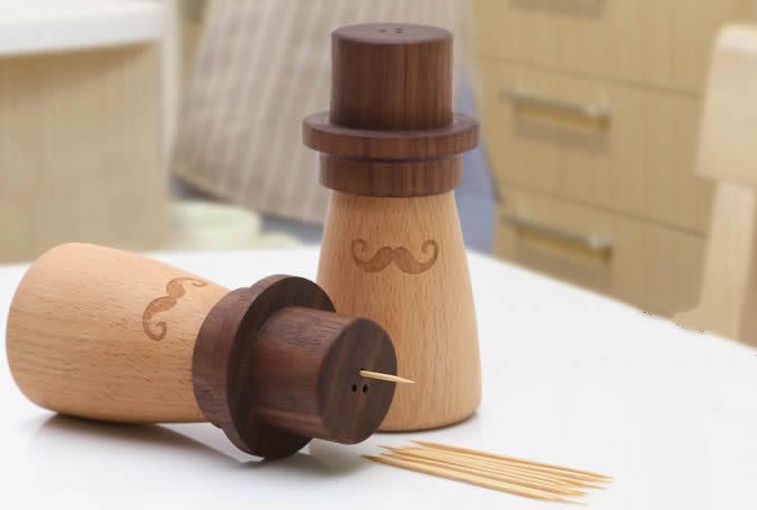 Wooden cowboy toothpick holder feelgift - Wooden pocket toothpick holder ...