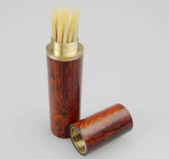 Wooden Cylinder Shaped Toothpick Holder