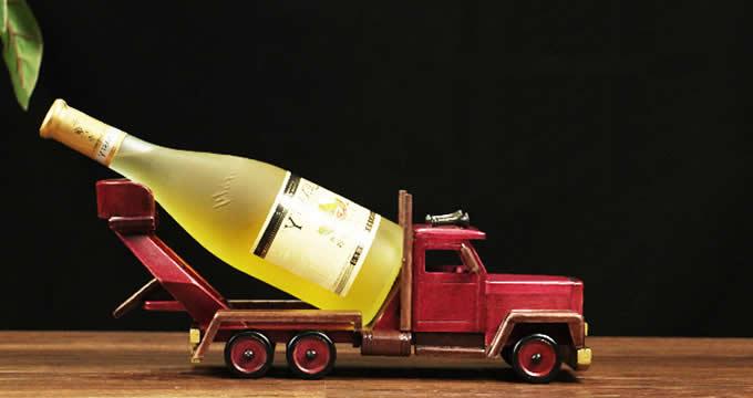 Wooden Engineering Truck Wine Bottle Holder