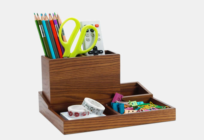 Wooden Multi-Functional Desk Organizer Box & TV Remote Control Holder/Pen Pencil Holder