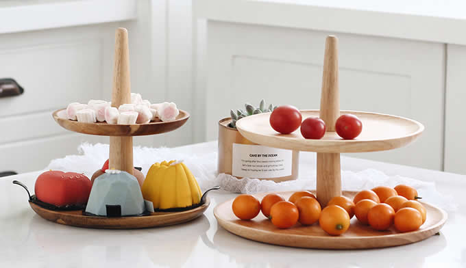 Wooden Multi Tiered Dessert Serving Tray