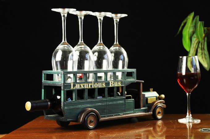 Wooden School Bus  Wine Bottle Holder