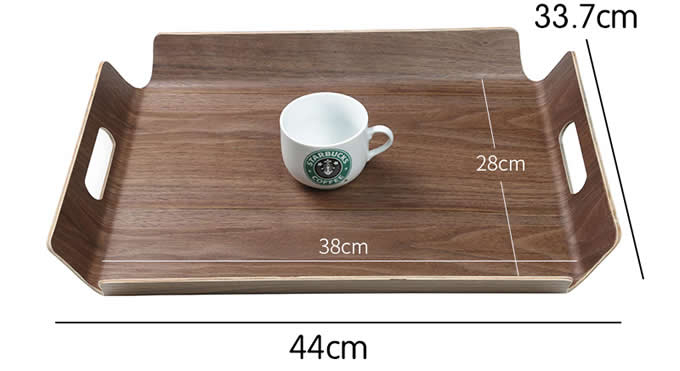 Wooden Square Fruit Cake Snack Serving Tray Plate with Handles