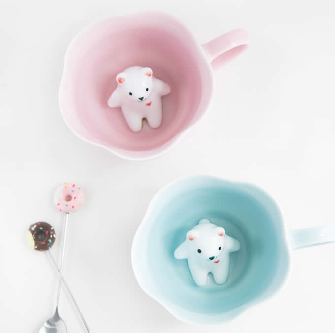 3D Cute Lovely Cartoon Miniature Animal Figurine Ceramics Coffee Cup