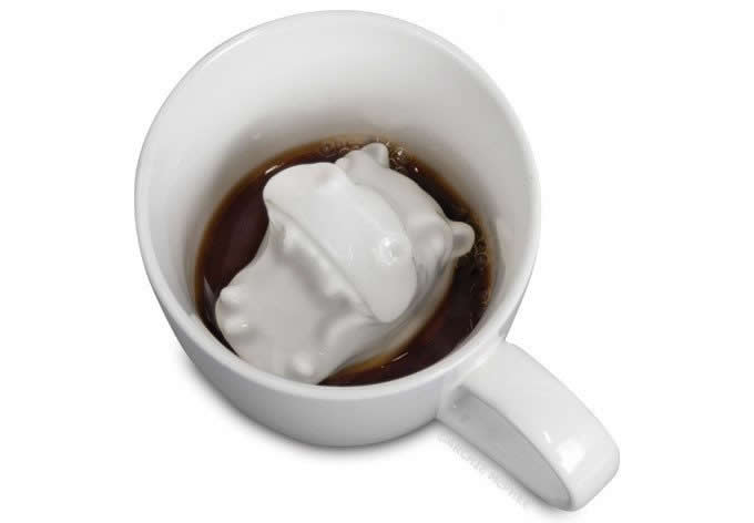 3D Hippo Mouse Shark Ceramic Coffee Mug,Hidden Animal Inside