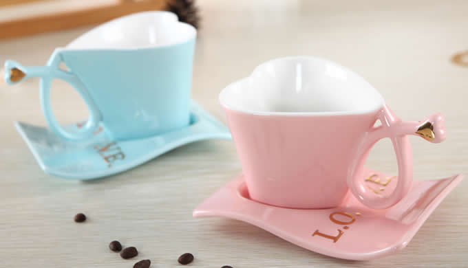 Ceramic Mug Heart Saucer Feelgift With Shaped Coffee PiuZkXO