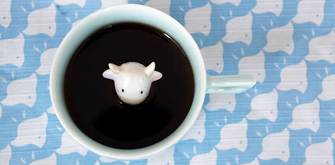 Cute Cow Figurine Ceramic Coffee Cup