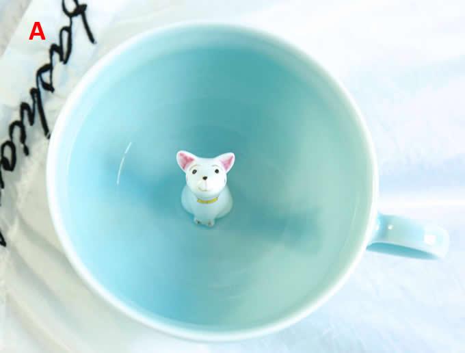 Cute Dog Figurine Ceramic Coffee Cup