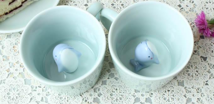 Cute Dolphin Figurine Ceramic Coffee Cup