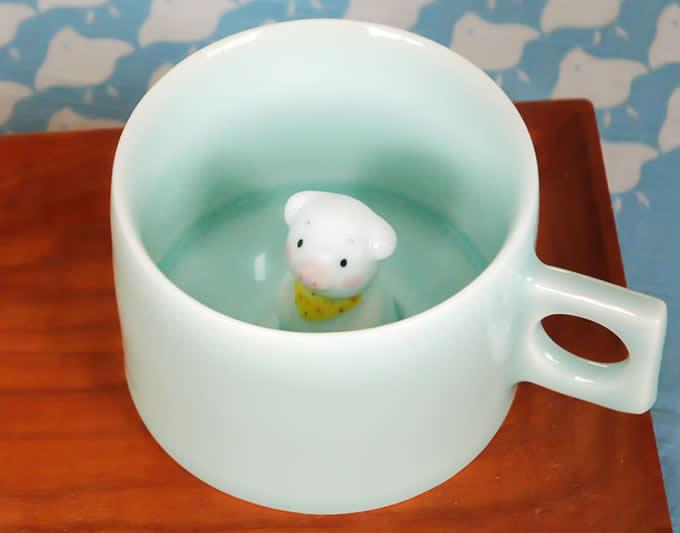 Cute Pig Figurine Ceramic Coffee Cup