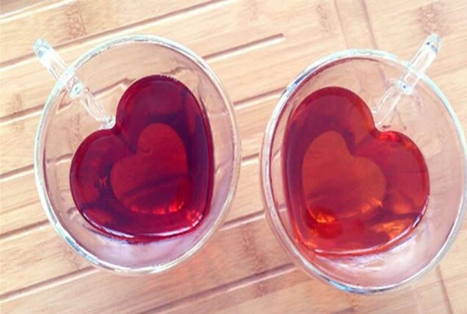 Heart Shaped Glass  Coffee Cup
