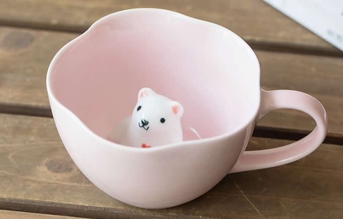 Pink 3D Bear & Cat Ceramic Coffee Cup With Saucer