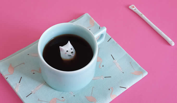 Samoyed Figurine Ceramic Coffee Cup