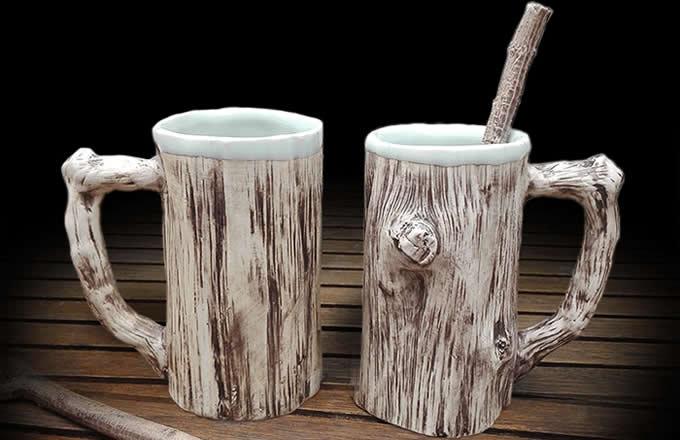 Tree Bark Ceramic Coffee Mug Feelgift
