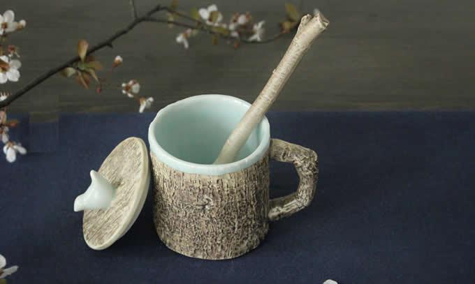 Tree Bark Ceramic Coffee Mug With Bird On Lid Feelgift