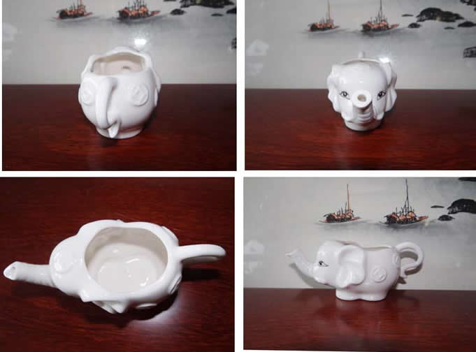 White Ceramic Elephant Shaped Tea Mug