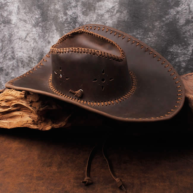 Classic Retro Countryside Cowboy Cowhide Leather Hat Outdoor Hat