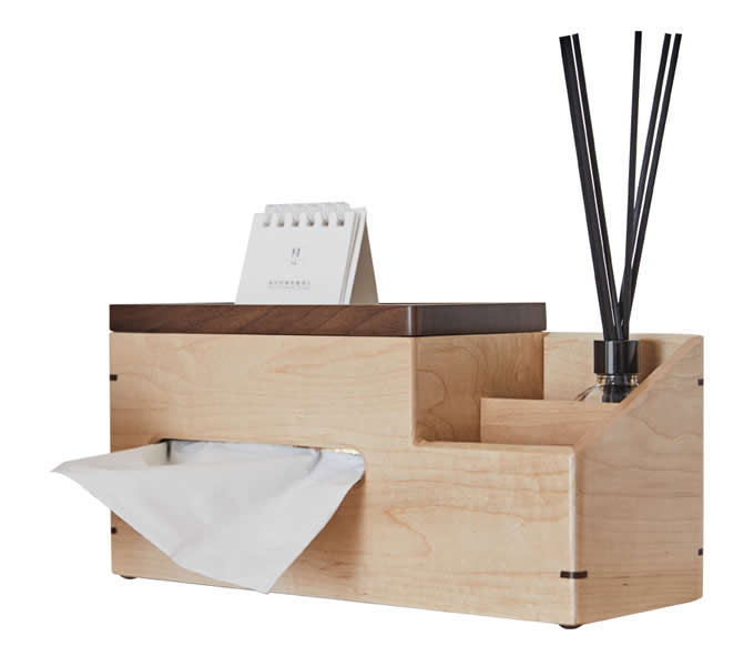 3 Compartment Bamboo Wood Organizer Caddy Tissue Holder, Remote Control