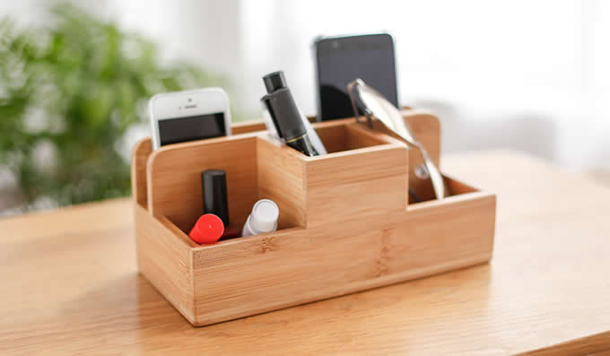 Wooden Desktop Storage Organizer/Remote Control Caddy Holder Wood Box Container for Desk, Office Supplies