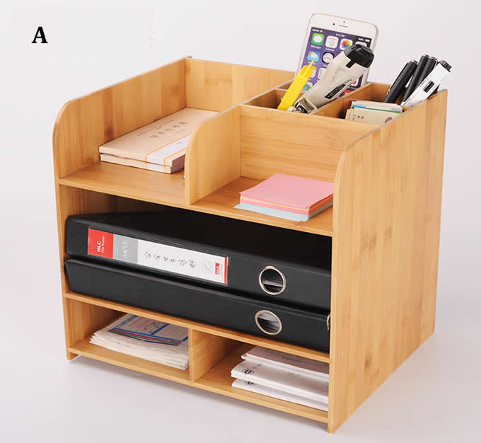Bamboo Wood 4-Tier Desk and Office Supply Organizer