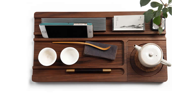 Black Walnut Mobile Phone Stand/Multi-Functional Office Home Desk Organizer for Mobile Phones, Ipad, Pen, Business Card