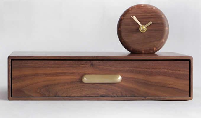 Black Walnut Monitor Stand Riser with Storage Organizer Drawers