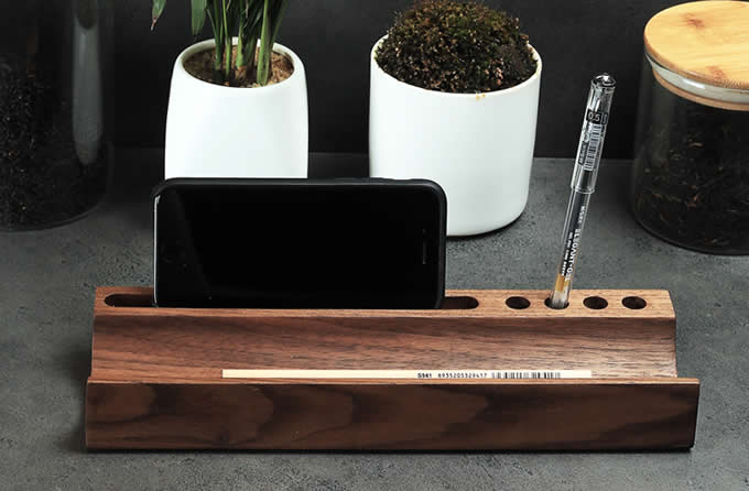 Black Walnut Wooden Business Card Holders Wooden Desk Office Organizer Display Stands Pen Pencil Holder