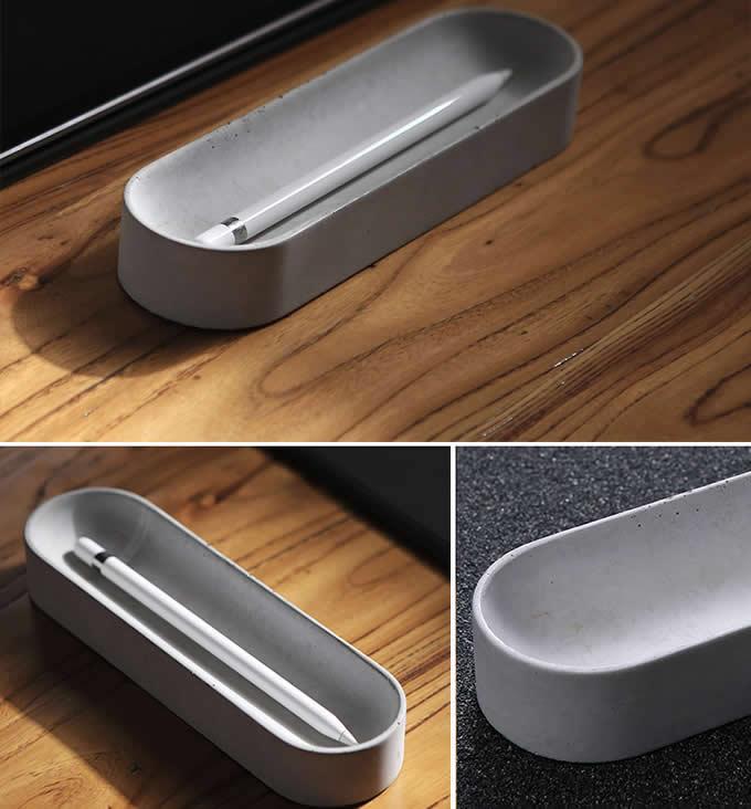 Concrete Pen Pencil Case Holder