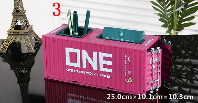 Creative Shipping Container Model Desk Office Supplies Organizer,Tissue Box(Pink)