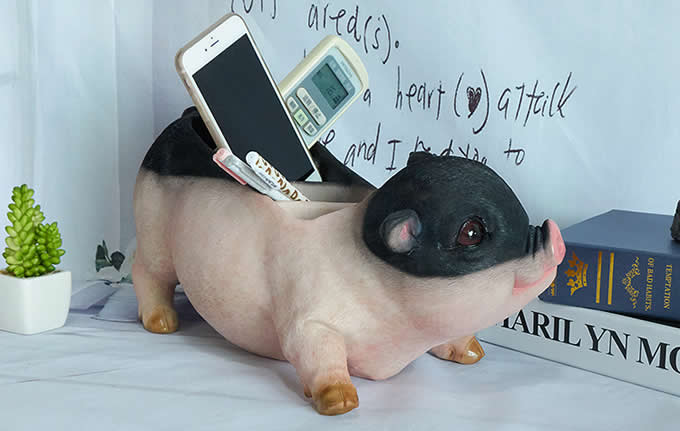 Cute Pig Office Desktop Stationery Cell Phone Remote Control Storage Box  Organizer