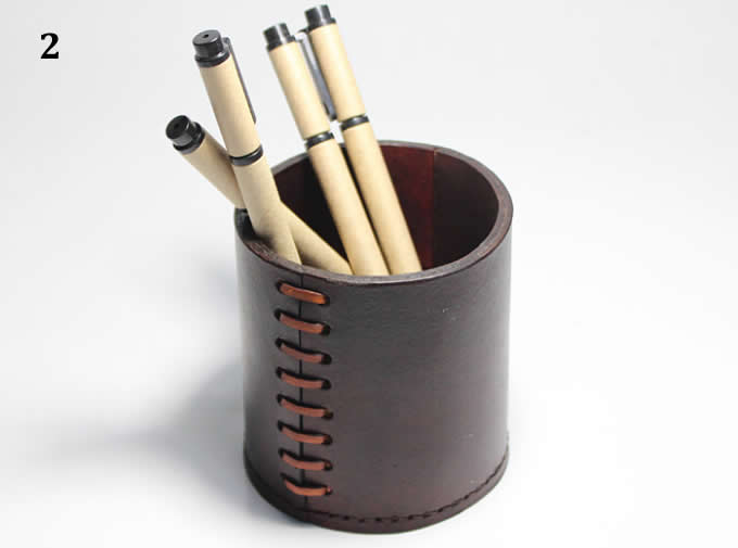 Handmade  Genuine Leather  Round Pens Pencils Holder Desk Organizer Office Desk Accessories Container Box