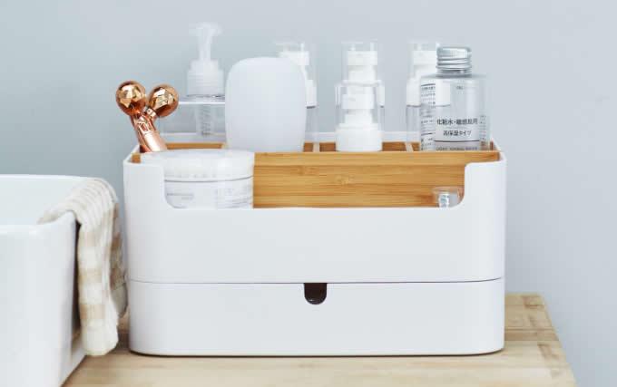 Plastic & Bamboo  Office Wooden Desk Organizer  Desktop Makeup Organizer With 1 Drawer