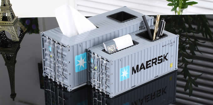 Creative Shipping Container Model Desk Office Supplies Organizer,Tissue Box