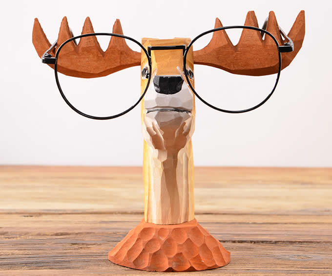 Wood Hand Carved Deer Shaped Eyeglass Holder / Spectacle Display Stand