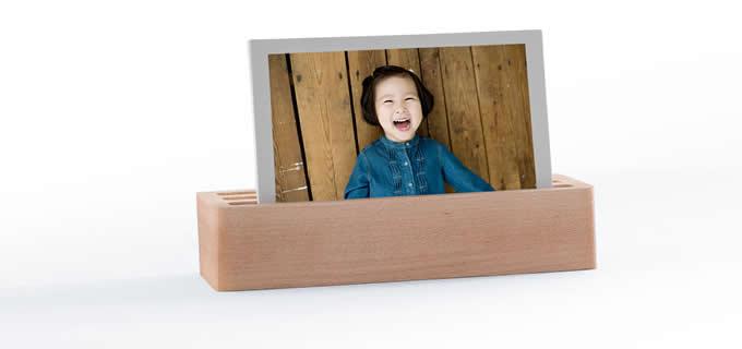 Wooden Desk Business Card Holder