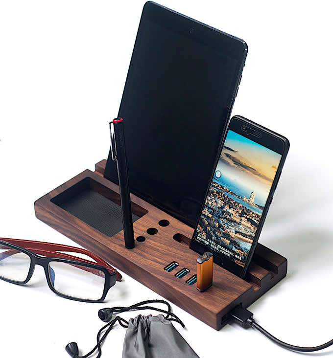 Wood Office Desk Organizer with iPad Stand, Phone Holder